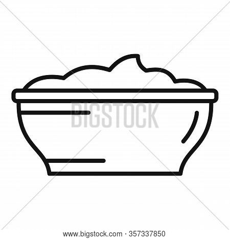 Mayonnaise Bowl Icon. Outline Mayonnaise Bowl Vector Icon For Web Design Isolated On White Backgroun