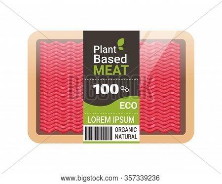 Plant Based Vegetarian Beyond Minced Meat In Packaging Organic Natural Vegan Food Concept Horizontal