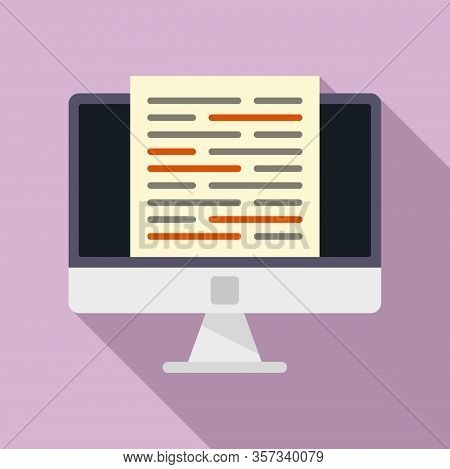 Modern Computer Editor Icon. Flat Illustration Of Modern Computer Editor Vector Icon For Web Design