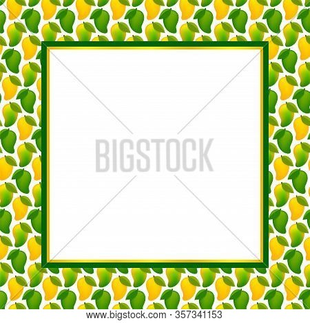 Mango Fruit Frame For Copy Space Text, Banner Frame With Mango For Background, Mango Pattern Yellow