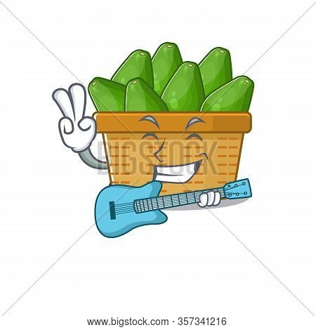 Supper Cool Avocado Fruit Basket Cartoon Playing A Guitar