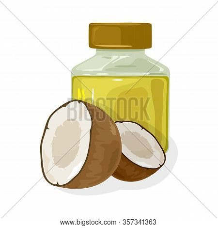 Fresh Coconut Halves Are Near Transparent Jar Closed By Cap With Curative Oil. Used For Cooking, Bod