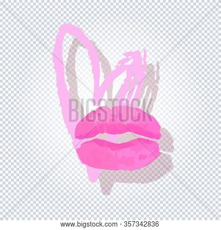 Beautiful Lips On Grunge Heart Background In Pink And Red Tones Isolated On Transparent Background.