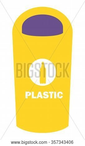 Dustbin For Plastic Vector, Flat Style Container For Throwing Rubbish. Sorting Litter And Recycling
