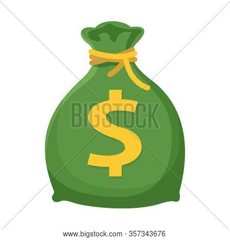 Money Bag Clip Art Isolated On White Background, Money Bag With Drawstring And Gold Dollar Sign, Sac