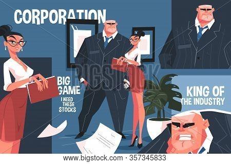 Big Corporation Boss Vector Illustration. King Of