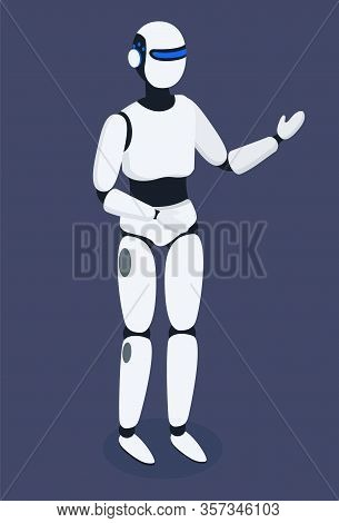 Robot Cybernetic Organism, Humanoid Robot, Futuristic Technologies Vector. Artificial Intelligence T
