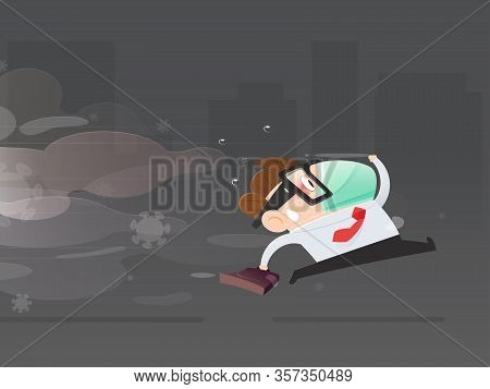Cartoon Businessman Wearing A Health Mask Running Away From Pm2.5 Dust Particles And Covid 19. Men W