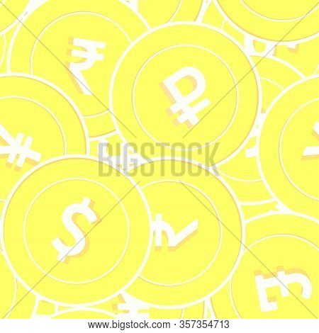International Currencies Gold Coins Seamless Pattern. Valuable Scattered Yellow Global Coins. Succes