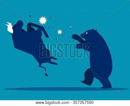 Bull Bear Market Presents Downtrend Stock Market. Animal Concept