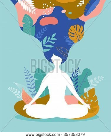 Coping With Stress And Anxiety Using Mindfulness, Meditation And Yoga. Vector Background In Pastel V