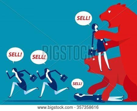 Bear Market Presents Downtrend Stock Market. Business Concept