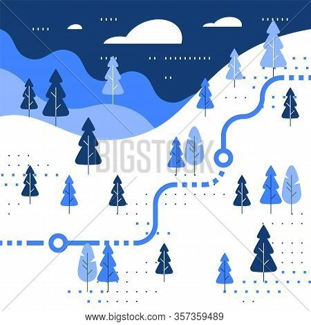 Winter Skiing Slope Map, Snow Forest, Trail Walking, Running Or Cycling Path, Orienteering Game, Whi