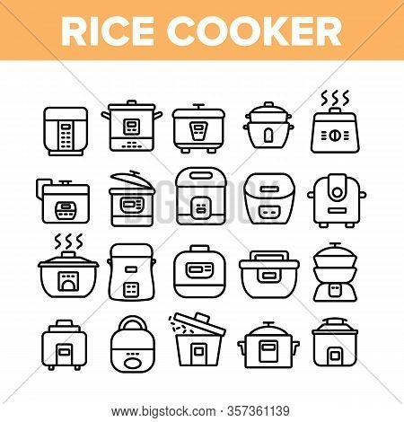 Rice Cooker Equipment Collection Icons Set Vector. Rice Cooker Electronic Device For Cooking Meal, K