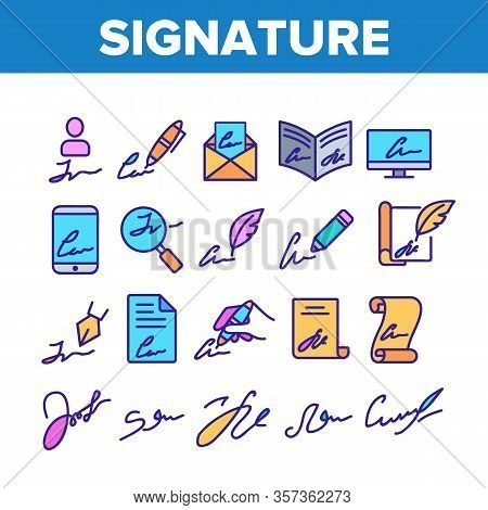 Signature Signing Collection Icons Set Vector. Human Own Signature On Partnership Agreement And Mess