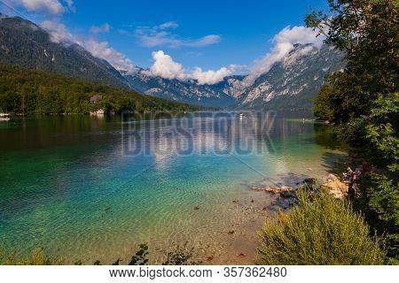 Bohinj, Slovenia - August, 01:  View Of Scenic Bohinj Lake,  The Largest Permanent Lake In Slovenia,