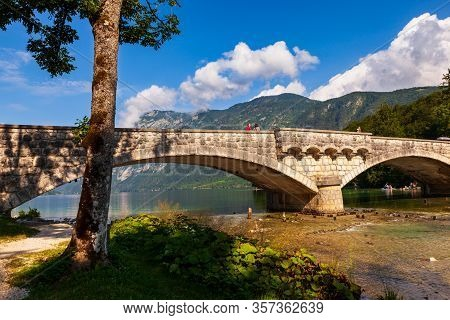 Bohinj, Slovenia - August, 01: View Of Bohinj Lake And Bridge On August 01, 2019