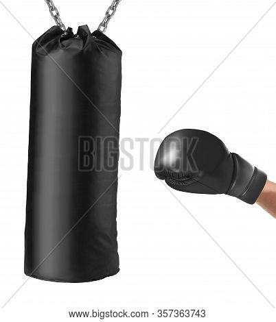 Boxing Glove Punches Punching Bag Isolated On A White Background