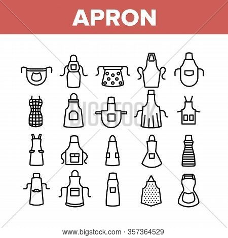 Apron Kitchen Cloth Collection Icons Set Vector. Kitchen Apron Protective Garment Different Style, C