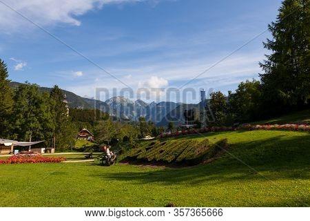 Bohinj, Slovenia - August, 04: Town Park Of Bohinj On August 04, 2019