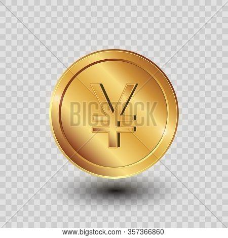 3d Coin. Golden Yuan. Vector Money On The Transparent Background.