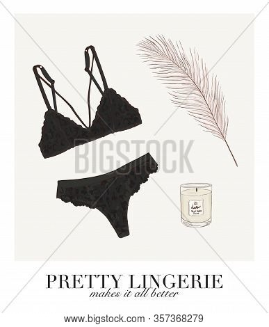 Sexy Black Bra And Panties Set Illustration. Lingerie Store Quote, Underwear Shape Text. Undies Stor
