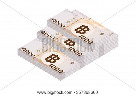 Pile 1000 Baht Banknote Money Thai Isolated On White, Thai Currency One Thousand Thb, Money Thailand