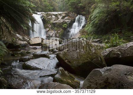 Halls Falls Near St Helens On The East Coast Of Tasmania.