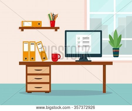 Work At Home Concept. Workplace With Desk And Computer. Home Office, Freelance Or Online Working Bac