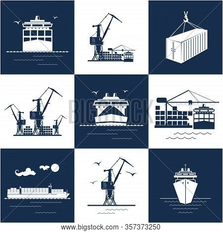 Set Of Blue And White Marine Cargo Icons, Dry Cargo Ship And Container Ship, Unloading Containers Fr
