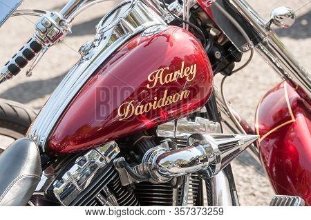 Rushmoor, Uk - April 19: Closeup Of A Classic Harley Davidson Motorcycle Gas Tank In Rushmoor, Uk -