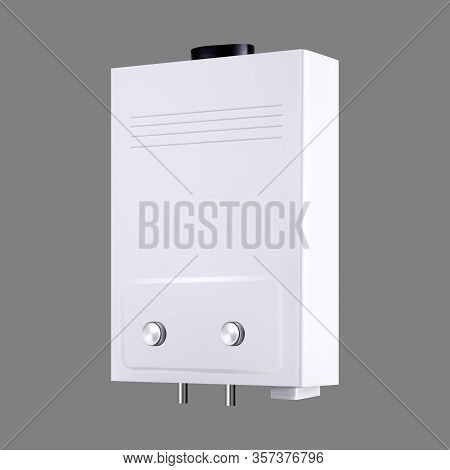Water Heater Home Gas Climate Equipment Vector. Blank Classical Domestic Device Water And Climate He
