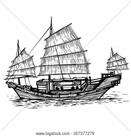 Vector Sailing Chinese Junk Ship In The Sea In The Ink Line Style. Hand Drawn Doodle Sketched Sailin