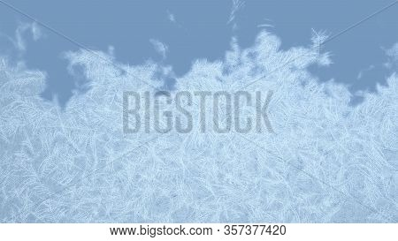 Frosted Frame From Bottom To The Top. Frosted Patterns On The Glass. 3d Rendering.