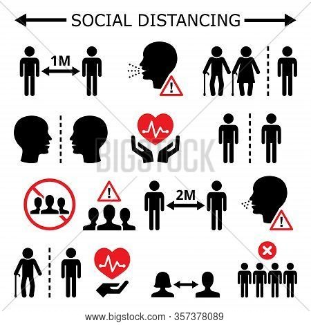 Social Distancing During Pandemic Or Epidemic Vector Icons Set, Keeping A Distance Between People, S