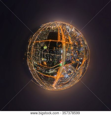 Little Planet 360 Degree Sphere. Panorama Of Aerial View Of Dubai Downtown Skyline And Highway, Unit