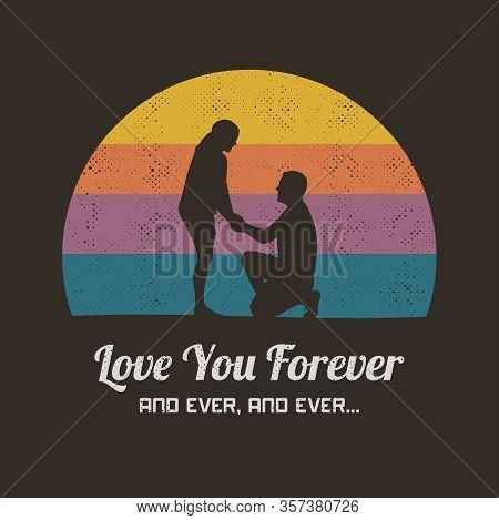 Romantic Marriage Proposal. Retro Illustration With Silhouette Of Loving Couple. Vector Background F