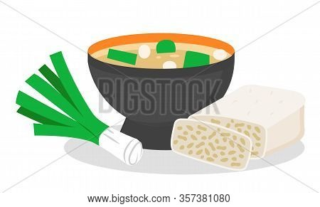 Dishes Full Of Nutritious Elements And Minerals. Probiotics Found In Miso Soup, Bow And Tempeh. Meal
