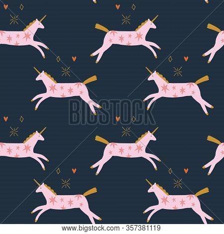 Vector Pink Cute Boho Little Unicorns. Ornamental Illustration. Cosmic Pony Seamless Pattern. Girly