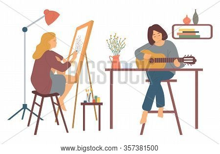 Woman At Home Vector, Hobby Of Lady Sitting On High Stool Playing Guitar. Guitarist Musician And Pai