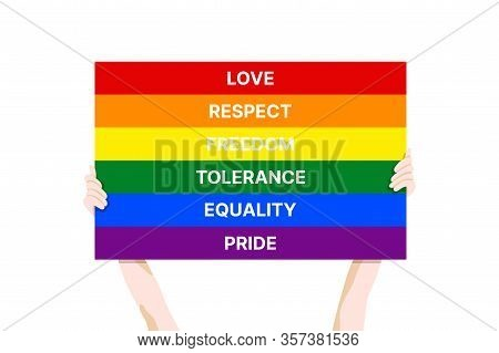 Pride Month 2020 Vector Banner Template With The Lgbt Person Holding Multicolored Poster As A Symbol