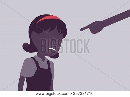 Punishment For Girl, Adult Finger Pointing To Guilt, Punish. Strict Discipline Strategies To Control