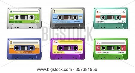 Vintage Tape Cassette. Retro Mixtape, 1980s Pop Songs Tapes. Disco Dance Audiocassette, Analogue Pla