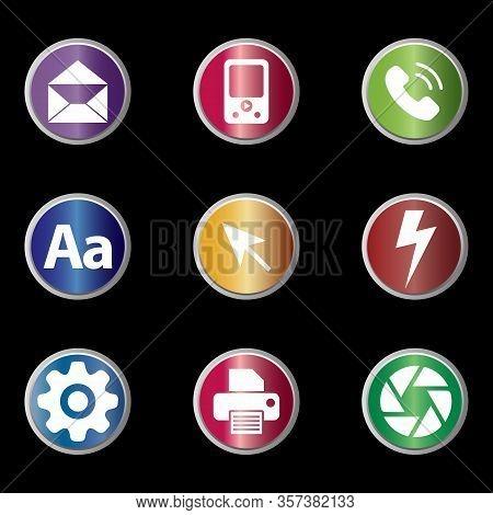 Icon Pack. Envelope As Mail Icon, Media Player Icon, Phone Icon, Aa Text Icon, Arrow Cursor Icon, Li
