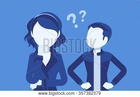 Misunderstanding, Communication Problem Between Man, Woman. Couple Feeling Disagreement, Quarrel, Di