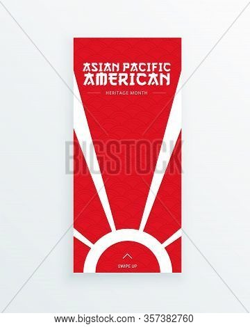 Asian Pacific American Heritage Month Vector Flyer Template With The Sun On Red Background. Identity