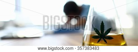 Close-up View Of Glass Bottle Filled With Cannabinoid Oil. Vessel With Liquid Yellow Extraction. Cop
