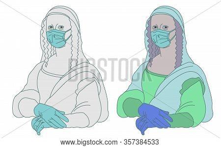 Illustration Of Mona Lisa Gioconda Leonardo Da Vinci Who Takes Care Of Herself And Does Not Want To