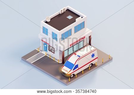 Emergency Hospital Entrance In 3d Isometric Style. The Building Of The Clinic With Lobby For Patient