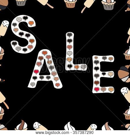 Sale Lettering In Beige, Black And White Colors. Collection With Style Backgrounds For Your Project,